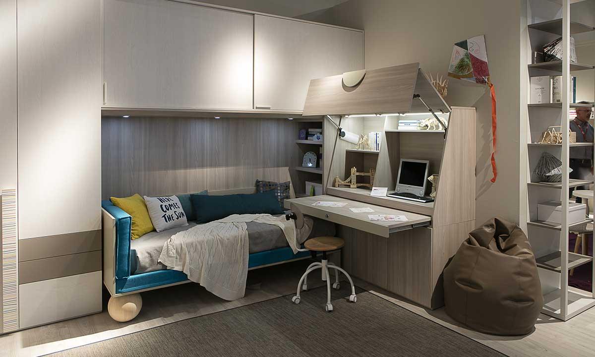 Cameretta con studio Dielle Doimo soluzione scomparsa- study corner
