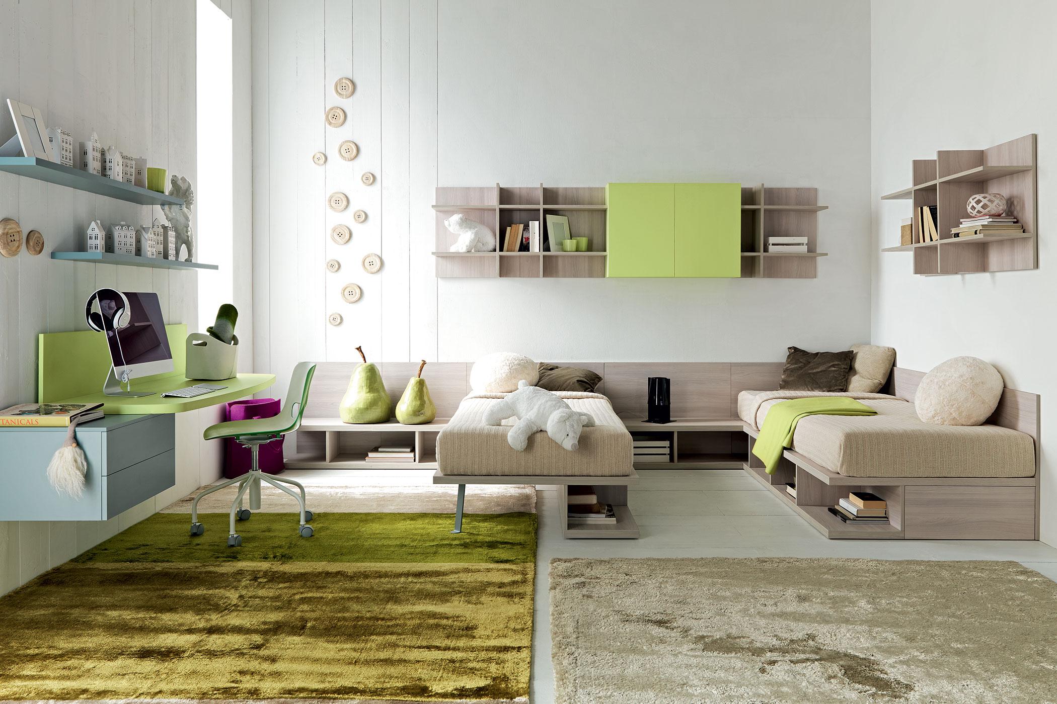 Doimo Cityline - cameretta verde con due letti e scrivania.